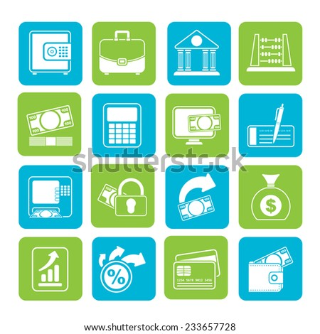 Silhouette Bank, business and finance icons - vector icon set - stock vector
