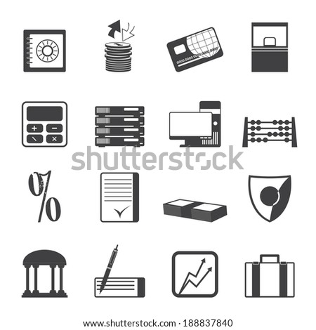 Silhouette bank, business, finance and office icons - vector icon set - stock vector