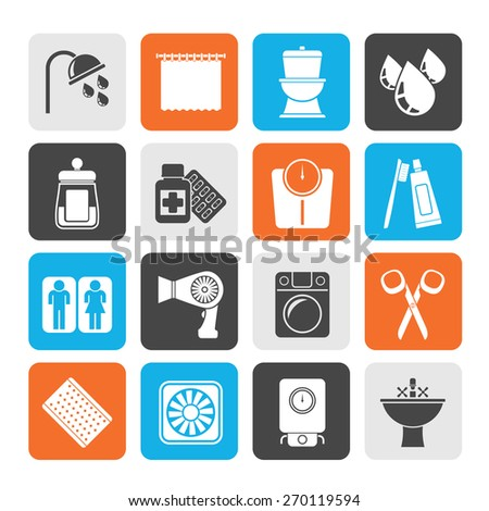 Silhouette Bathroom and Personal Care icons- vector icon set 2 - stock vector