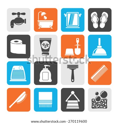 Silhouette Bathroom and Personal Care icons- vector icon set 1 - stock vector