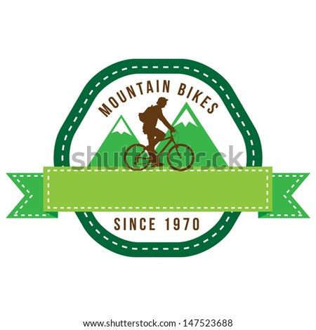 silhouette bicycle logo badge and banner vector format - stock vector