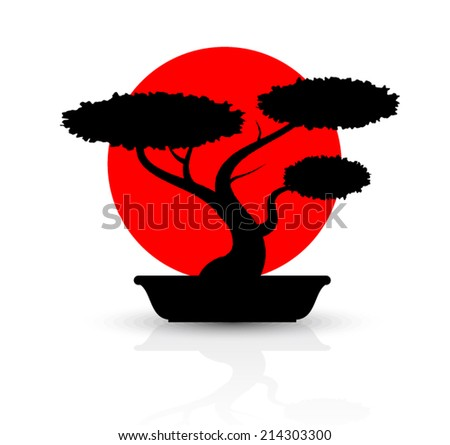 silhouette bonsai with red sun/ vector illustration eps10 - stock vector