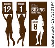 Silhouette boxing ring girl, holding sign, vector illustration - stock vector