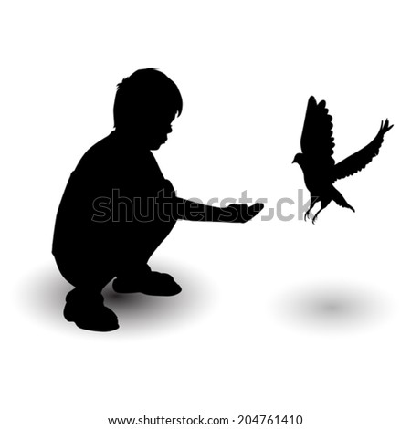 silhouette boy feeding pigeons on a white background vector - stock vector