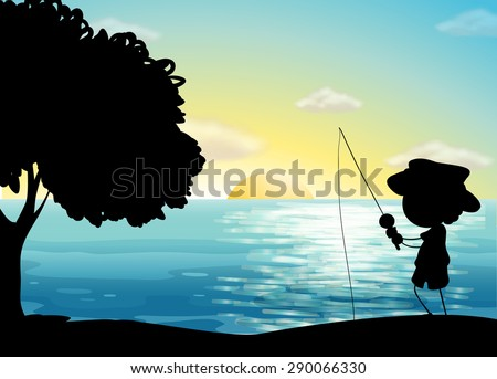 Silhouette boy fishing in the ocean - stock vector