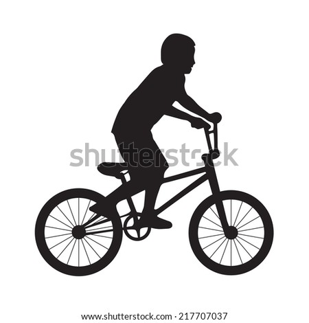 Silhouette boy ride bicycle