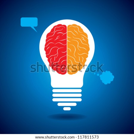 silhouette brain with idea and thought bubble