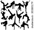 silhouette break dance - stock vector