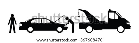 Silhouette broken down car and breakdown truck isolated on white background - stock vector