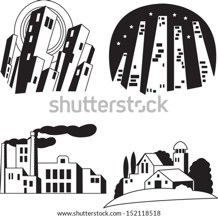 Silhouette buildings and houses drawing sketching