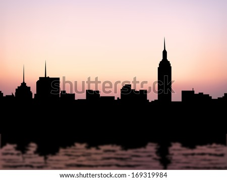 silhouette buildings, manhattan new york city, downtown, cityscape and water reflection at evening(morning) skyline vector - stock vector