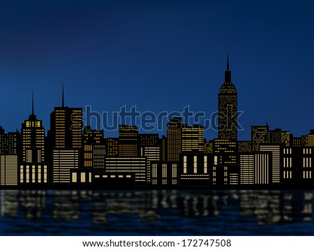silhouette buildings, new york city, downtown, cityscape with light from windows and water reflection at night skyline vector  - stock vector