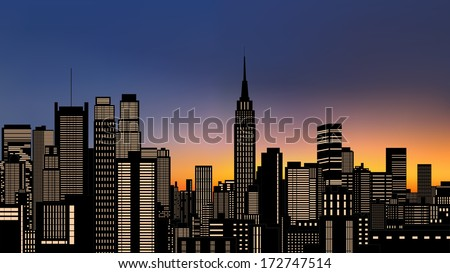 silhouette buildings, new york city, downtown, cityscape with light from windows at evening(morning) yellow skyline vector - stock vector