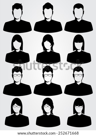 silhouette business man and woman - stock vector