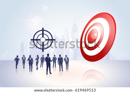 Silhouette Business People Group Target Aim Success Concept Flat Vector Illustration