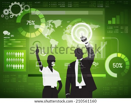 Silhouette Business People with Financial Concept - stock vector