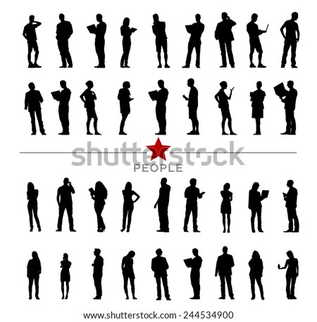 Silhouette Business People with Varioius Acting - stock vector