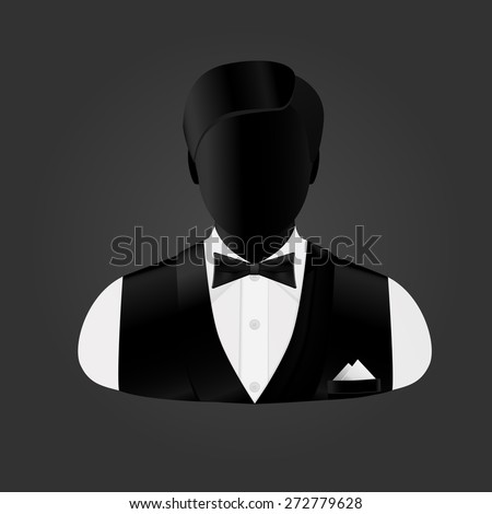 silhouette businessman change in a butterfly and a sleeveless jacket - stock vector