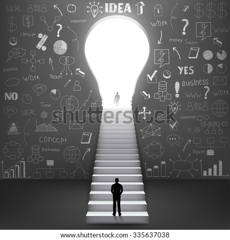 silhouette businessman climbing on stair. Vector Illustration - stock vector