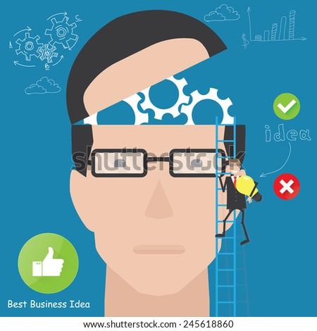 Silhouette businessman thinking idea. Business idea connection - stock vector