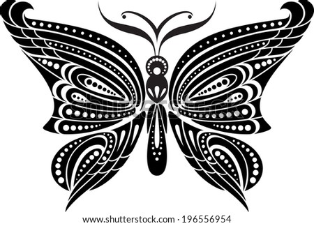 Silhouette butterfly with delicate wings. Black and white drawing. stylized symbol. - stock vector