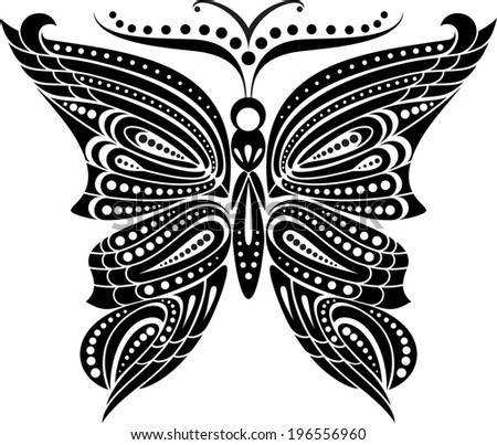 Silhouette butterfly with open wings tracery. Black and white drawing. - stock vector
