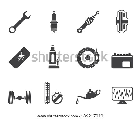 Silhouette Car Parts and Services icons - Vector Icon Set 1 - stock vector