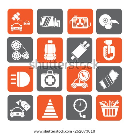 Silhouette Car parts and services icons - vector icon set 3 - stock vector