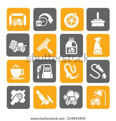Silhouette car wash objects and icons - vector icon set - stock vector