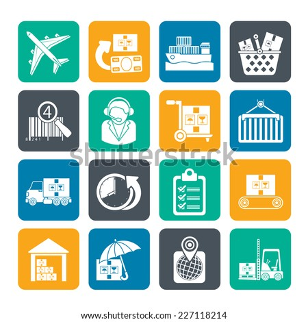 Silhouette Cargo, logistic and shipping icons - vector icon set - stock vector