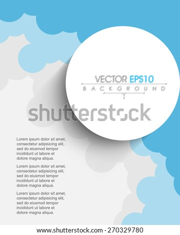 silhouette cartoon cloud geometric circle frame blank space eps10 vector background - stock vector