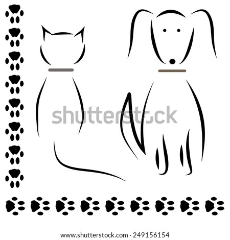 Silhouette cat dog footprints. vector - stock vector