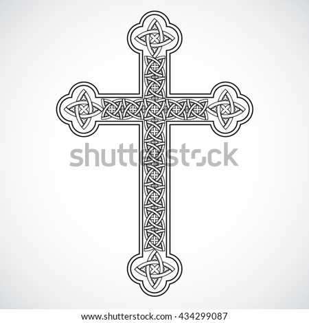 silhouette celtic ornament cross / vector illustration