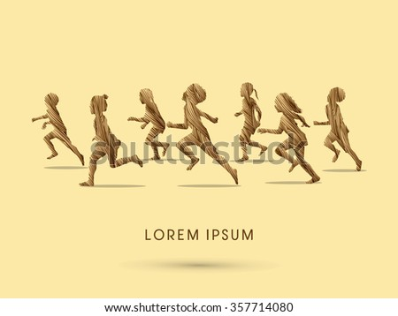 Silhouette, Children running, Designed using grunge brush graphic vector.