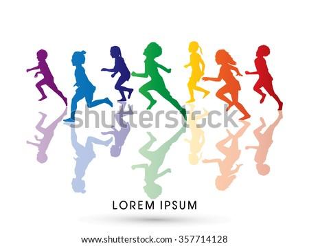 Silhouette, Children running, Designed using rainbows colors graphic vector. - stock vector