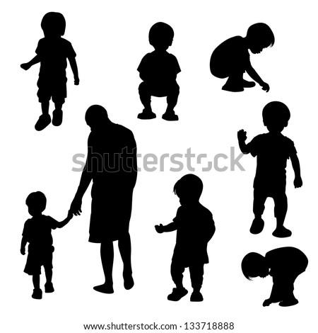 Silhouette children vector - stock vector