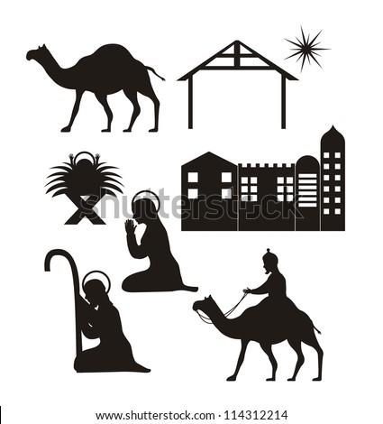 silhouette christmas, nativity scene. vector illustration - stock vector