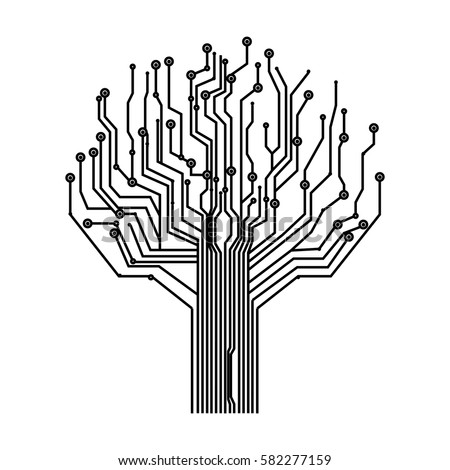 silhouette circuit board tree background vector stock