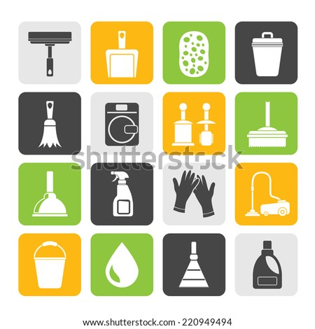 Silhouette Cleaning and hygiene icons - vector icon set - stock vector
