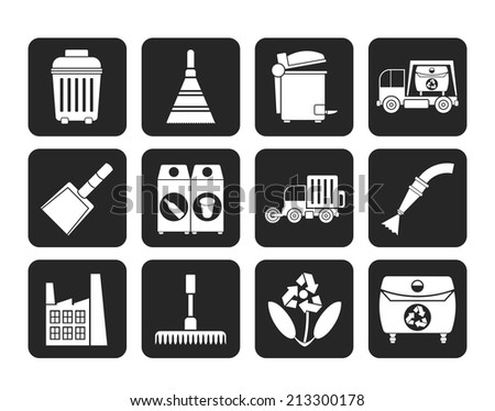 Silhouette Cleaning Industry and environment Icons - vector icon set