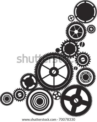 silhouette clockwork - stock vector
