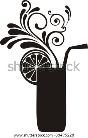 Silhouette cocktail with floral design elements. Drink Menu or Invitation for Parties and Showers. Vector illustration - stock vector