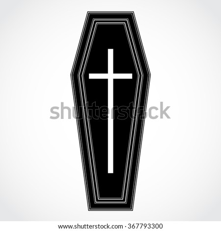 silhouette coffin with cross vector illustration - stock vector