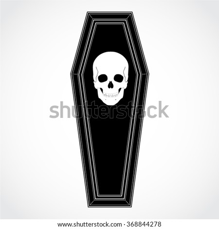 silhouette coffin with skull / vector illustration - stock vector