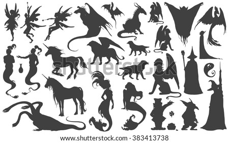Silhouette collection of mythological people, monsters, creatures: Fairy, elf, nymph,magician,unicorn,gin,dragon,hydra,chimera,mermaid,griffin,sphinx,vampire...Hand drawn vector illustration,set. - stock vector