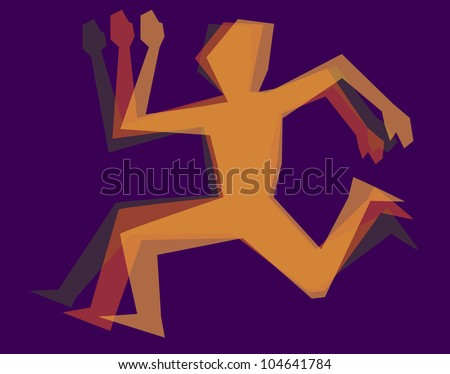 silhouette color man running - stock vector