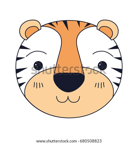 silhouette color sections of cute face of tiger happiness expression vector illustration