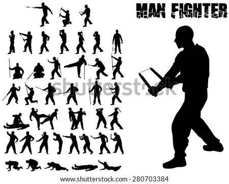 SILHOUETTE COMBAT MAN AND MARTIAL ARTS WHIT WEAPONS - stock vector