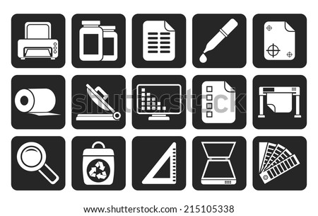 Silhouette Commercial print icons - vector icon set - stock vector