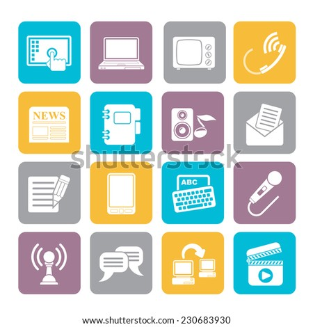 Silhouette Communication and connection icons - vector icon set